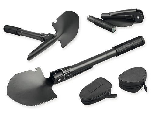 DIG kovová skládací lopatka s kompasem v textilním pouzdře, Černá