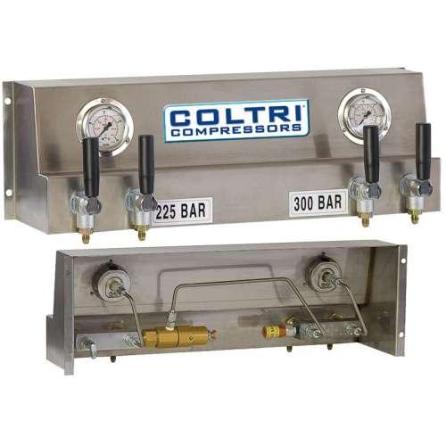 Plnící panel 230/300 bar s pákovými ventily a plnícími hadicemi