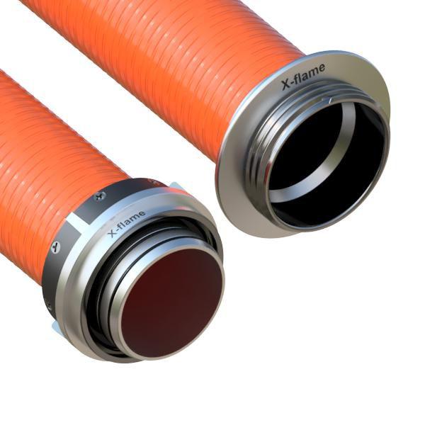 Savice 2,5m se šroubením Profi-Extra,pr.110mm,Flame 50 oranžová s naklapávací košovkou s prstencem X-flame